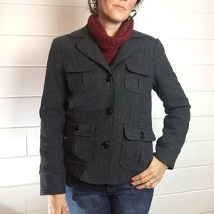 GAP Pea Coat, Gray, Wool Blend, Short